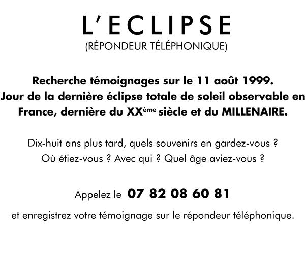 L'ÉCLIPSE (répondeur téléphonique) - Annick Dragoni